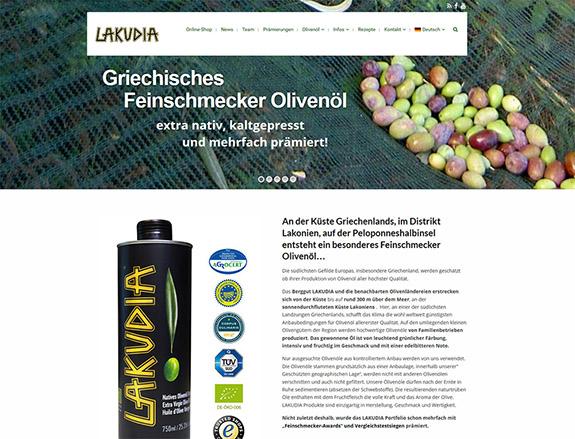 Lakudia Olivenöl Webseite und Branding